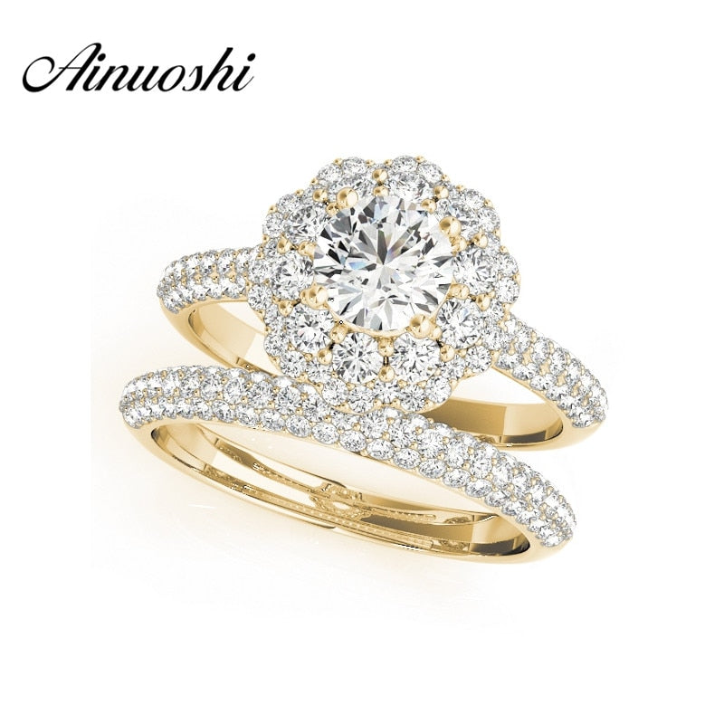 AINUOSHI Trendy 925 Sterling Silver Yellow Gold Color Engagement Flower Bridal Ring Sets Sona 0.5 Carat Round Cut Ring Sets Gift