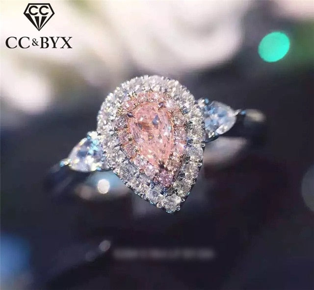 CC Jewelry 925 Silver Rings For Women Fashion Pink Water Drop Simple Jewelry Engagement Bride Wedding Gift Ring Anillo CC585