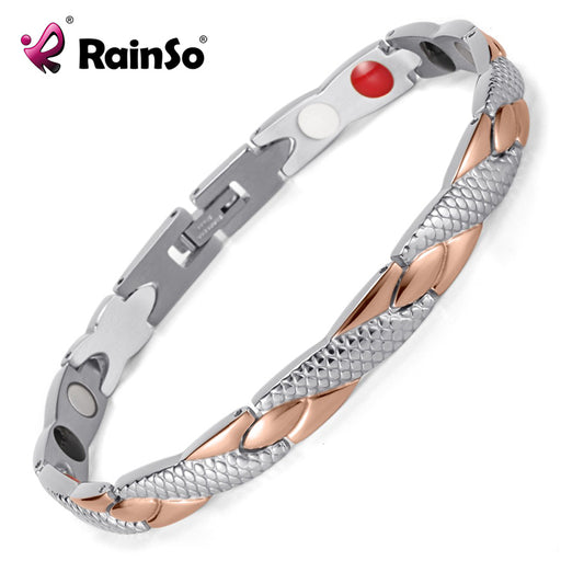Rainso Stainless Steel Magnetic Bracelets & Bangles Healing Bio Charm Bracelets For Women Rose Gold Polished OSB-692SRGFIR
