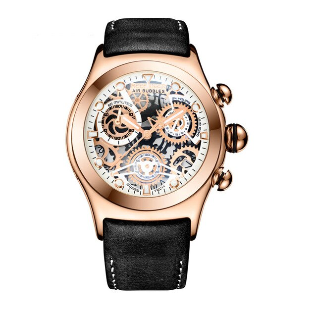 Reef Tiger/RT Skeleton Sport Watches for Men Rose Gold Luminous Quartz Watches Genuine Leather Strap RGA792