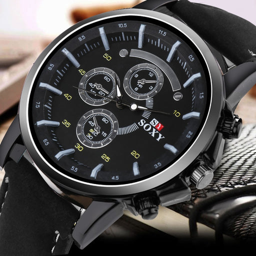 Pu Leather Watch Luxury Men Luminous Watches Analog Military Sports SOXY Watch Quartz Male Wristwatches Hour Relogio Masculino
