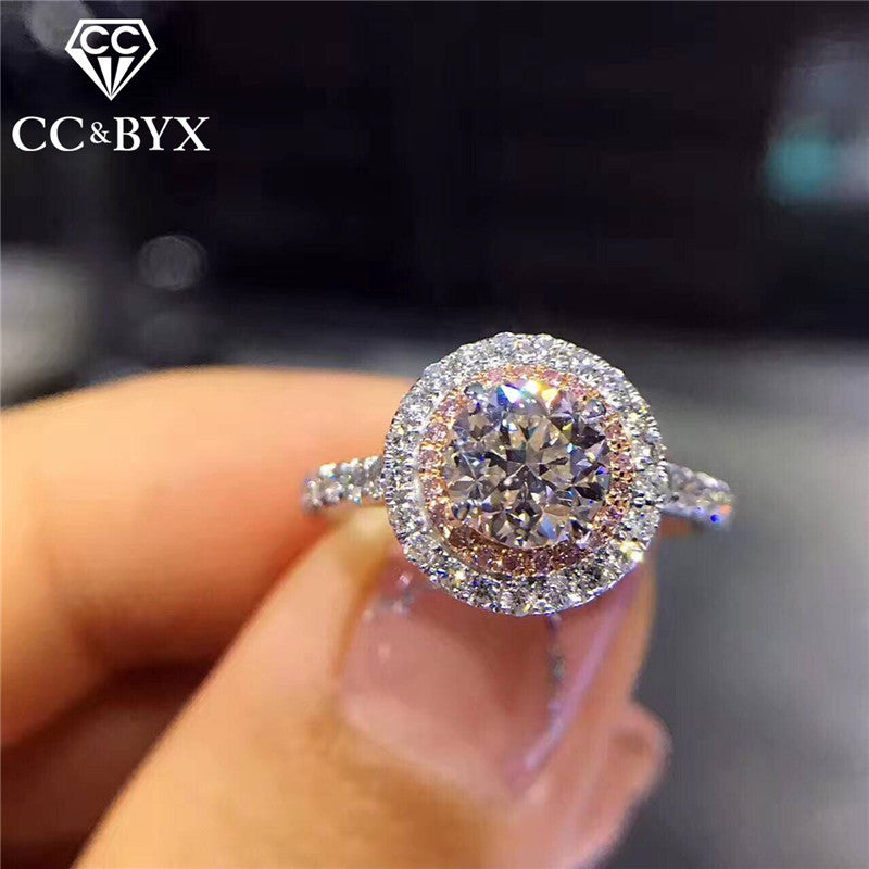 CC S925 Silver Wedding Rings For Women Charms Queen Princess Ring Round Pink Stone Bridal Engagement Jewelry Drop Shipping CC593