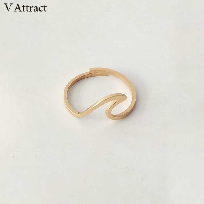 V Attract Stainless Steel Jewelry Accessries Rose Gold Anel Fashion Wedding Gift Sculpture Statement Sea Wave Ring For Women Men