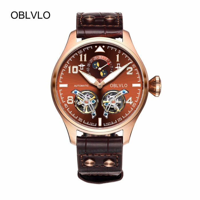 OBLVLO Sport Watches for Men Complete Calendar Brown Dial Automatic Watches Tourbillon Pilot Watches OBL8232