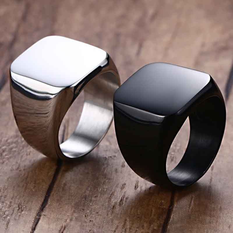 Rings Square Large Wide Seal Rings 24K Titanium Steel man Finger Ring Silver Black Gold Men Jewelry