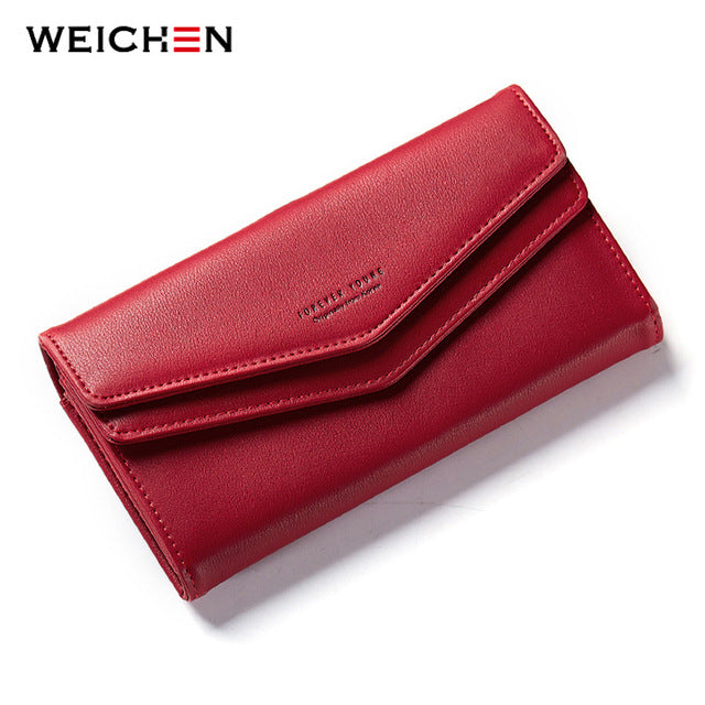WEICHEN New Geometric Envelope Clutch Wallet For Women Female Leather Purse Card Holders Coin Phone Pocket Long Wallets Bolsas