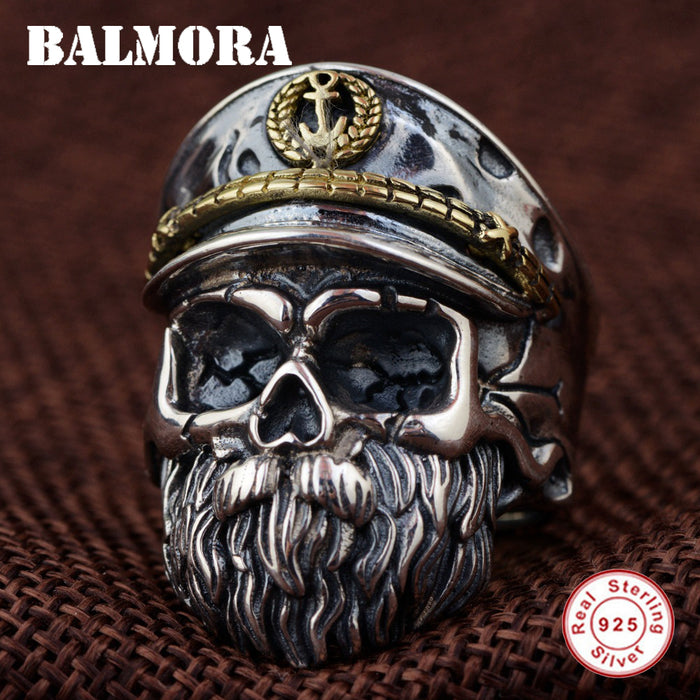 BALMORA Solid 925 Sterling Silver Skull & Beard Rings for Men Gift Punk Fashion Open Ring Thai Silver Jewelry Anillos SY22085