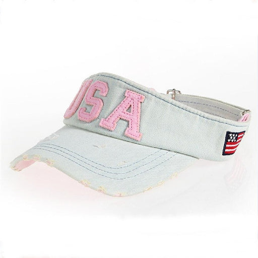 High Quality Brand Empty Top Visor Hat For Women Men Student Wash Denim Embroidery USA Sun Cap Quick-Drying Snapback Caps