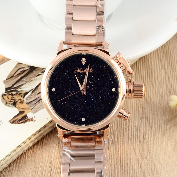 MASHALI Heavy Metals Neutral Watch Women Steel Watches Shining Night Sky Hours Vogue Watches Montre Femme Relojes Relogios W068