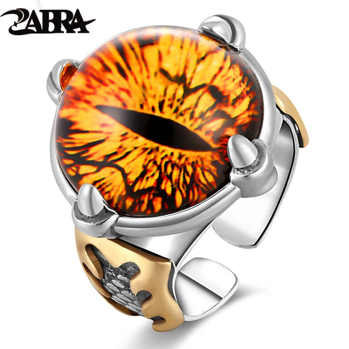 ZABRA 925 Silver Adjustable Yellow Cubic Zirconia Ring Men Vintage Big Stone Punk Rings For Women Sterling Silver Female Jewelry