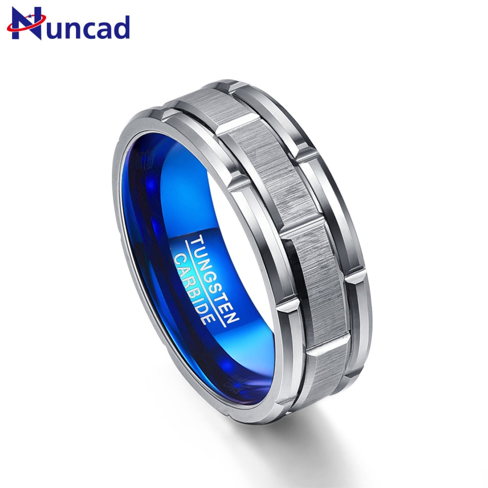 Nuncad T062R unique Engagement ring combination ring hole blue 8MM wide tungsten steel ring size 7-12