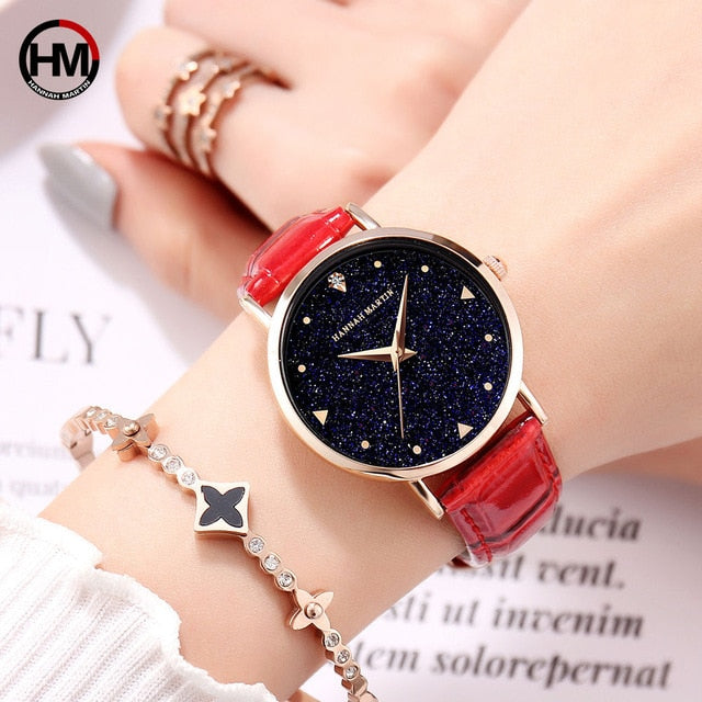 Top Luxury brand Japanese original imported movement quartz watch ladies waterproof leather flash Star Dial woman watch Clock