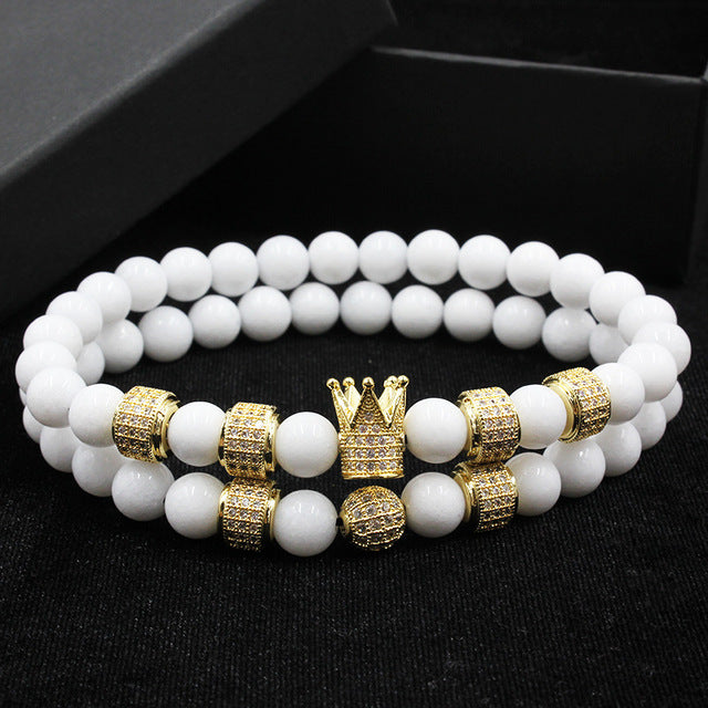 Norooni 2018 2pcs/set Uxury Fashion Crown Charm Bracelet Natural Stone For Women And Mens Pulseras Masculina Gifts Gift