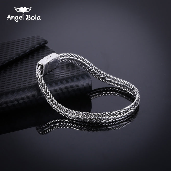 Fashion New Link Chain Ancient Silver Bracelet Women Heavy 5MM Wide Mens Buddha Bangles 2018 Bicycle Chain Wristband B1019-6