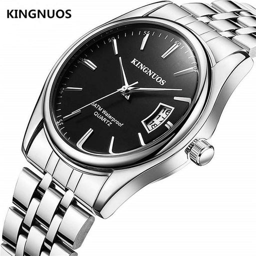 Full Stainless Steel Men Watch Fashion Male Date Calendar Clock Sports Watchband Waterproof Man Quartz Wrist Watches KINGNUOS