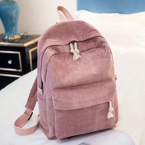 Miyahouse Preppy Style Soft Fabric Backpack Female Corduroy Design School Backpack For Teenage Girls Striped Backpack Women
