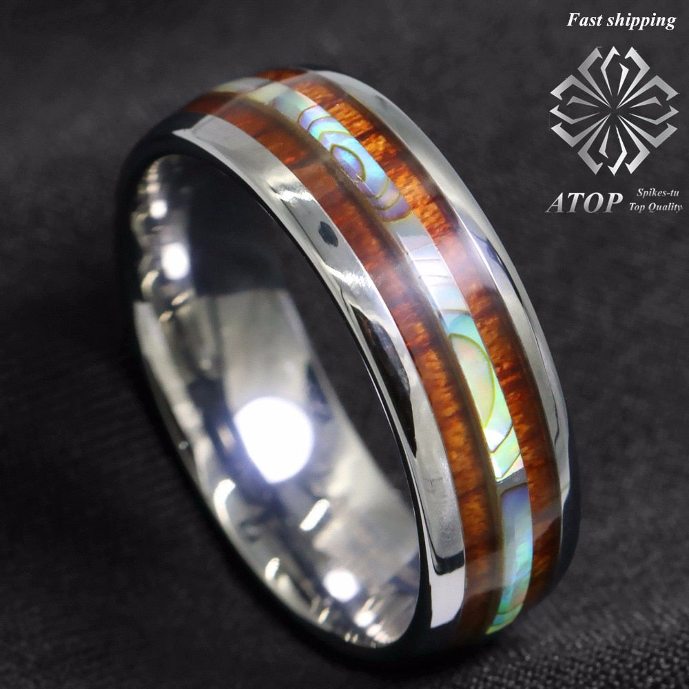 8mm Tungsten carbide ring Koa Wood Abalone ATOP Wedding Band Ring Men's Jewelry Free Shipping