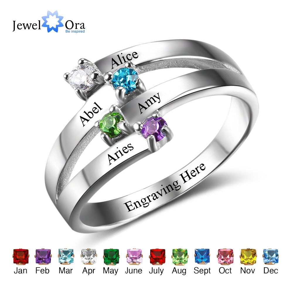 925 Sterling Silver Friendship & Family Ring Engrave 4 Names DIY Custom Birthstone Gift For Moms (JewelOra RI102510)