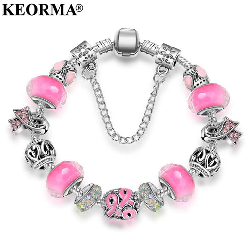 KEORMA New Pink Awareness Bracelet Purple &  Ribbon Crystal Beads  European style charm bracelet For Women  jewelry KM010