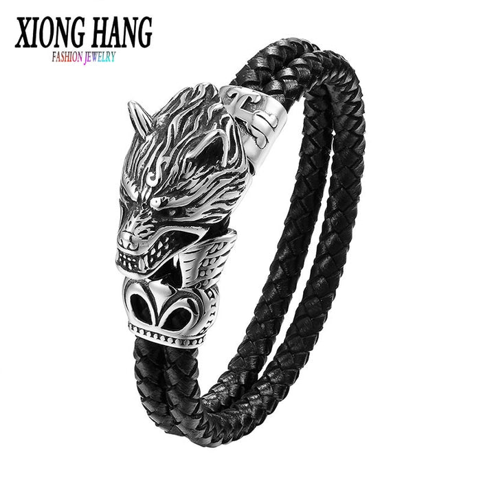 Xionghang Wolf Head Bracelet Titanium Steel Jewelry Vintage Genuine Leather Bangle High Quality Woven Men's Jewelry Wholesale