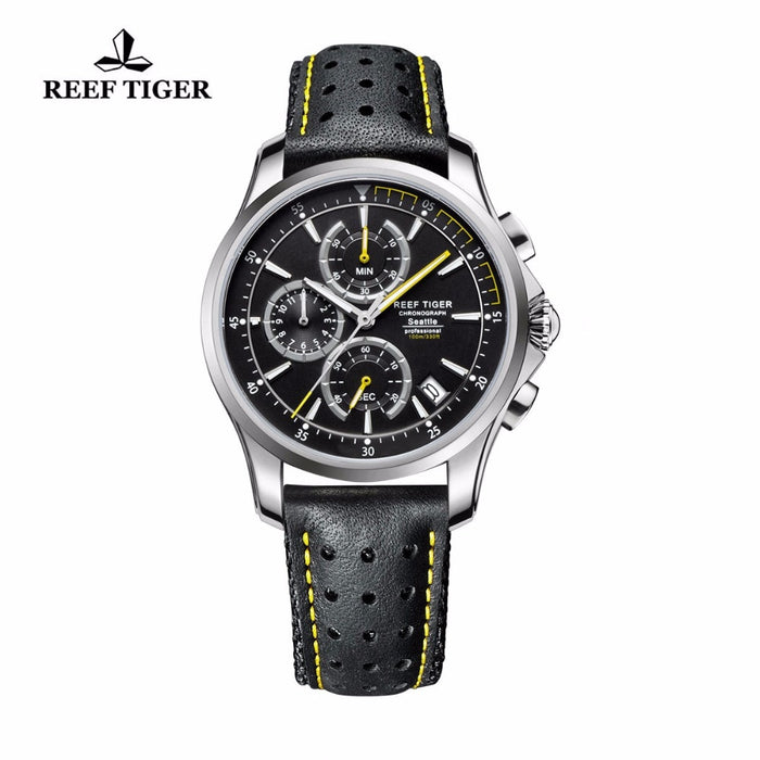 Reef Tiger/RT Sport Chronograph Watches for Men Quartz Watches with Date and Super Luminous Steel Leather Strap Watches RGA1663