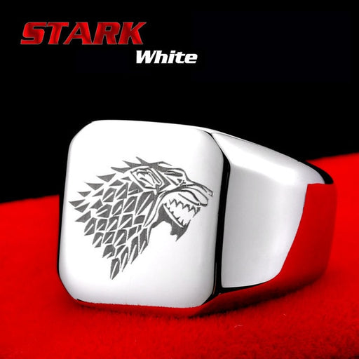 BEIER Hight Polished Stainless Steel Amulet Jewelry Game Of Thrones House Starks Winterfell Wolf/Dargon Signet Men Ring BR8-274