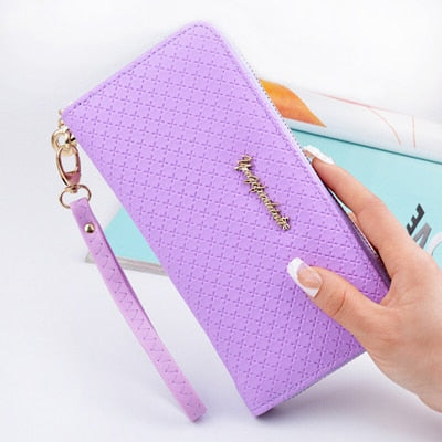 Bokinslon Ladies Zipper Purse Large Capacity Practical Hand Wallet Woman PU Leather Fashion Female Long Section Wallet