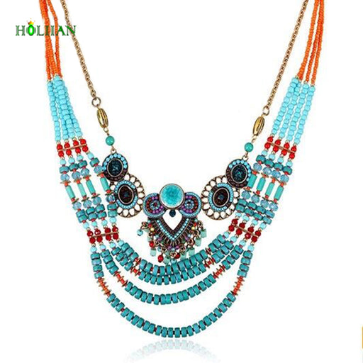 Hot  women bohemia necklace&pendants multilayer beaded chain choker necklace za antique tribal ethnic boho marble stone jewelry