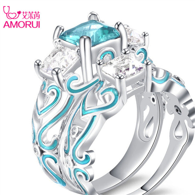 AMORUI New Silver Plated Square Crystal Engagement/Wedings Rings for Women Enamel Birthday Stone Gift Ring Jewelry Dropshipping