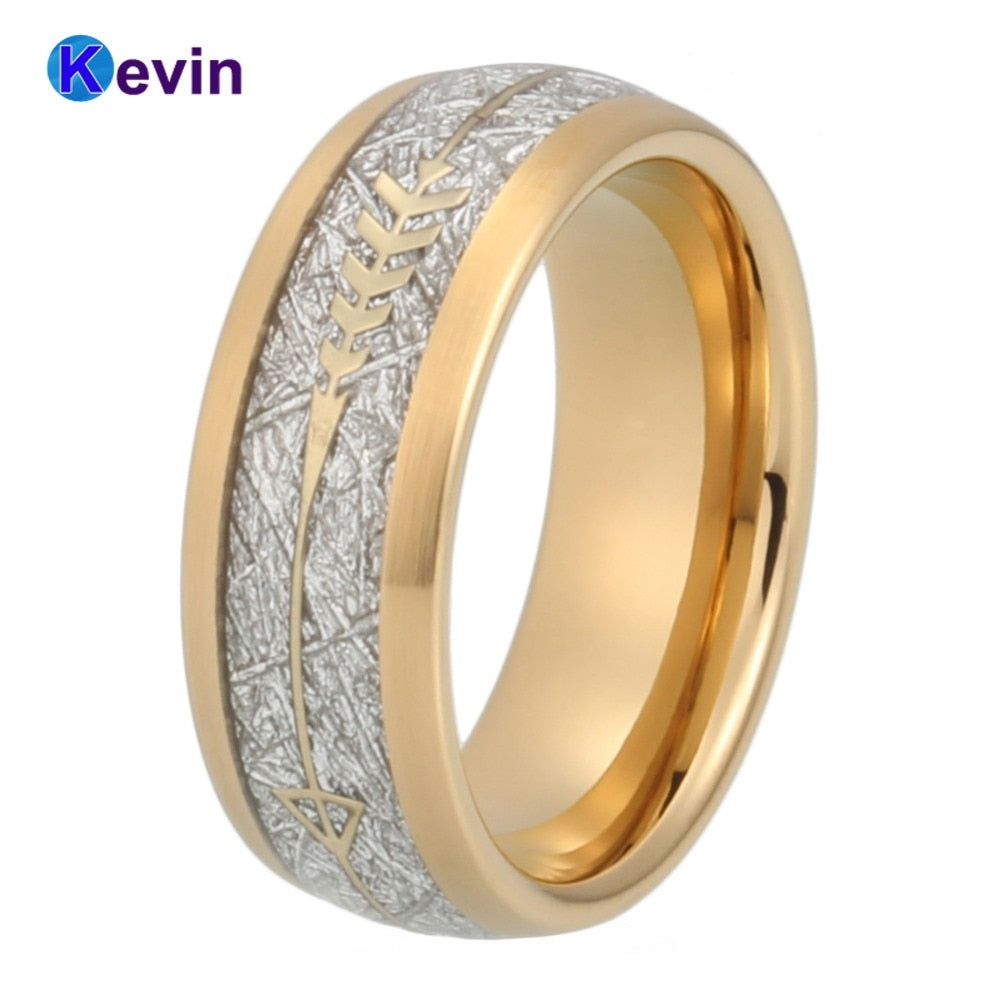 Gold Wedding Band Men Women Tungsten Ring With Gold Steel Arrow And White Meteorite Inlay New Arrivals
