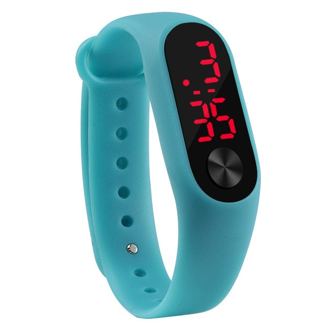 Fashion Outdoor Simple Sports Red LED Digital Bracelet Watch Men Women Colorful Silicone Watches Kids Children Wristwatch Gift