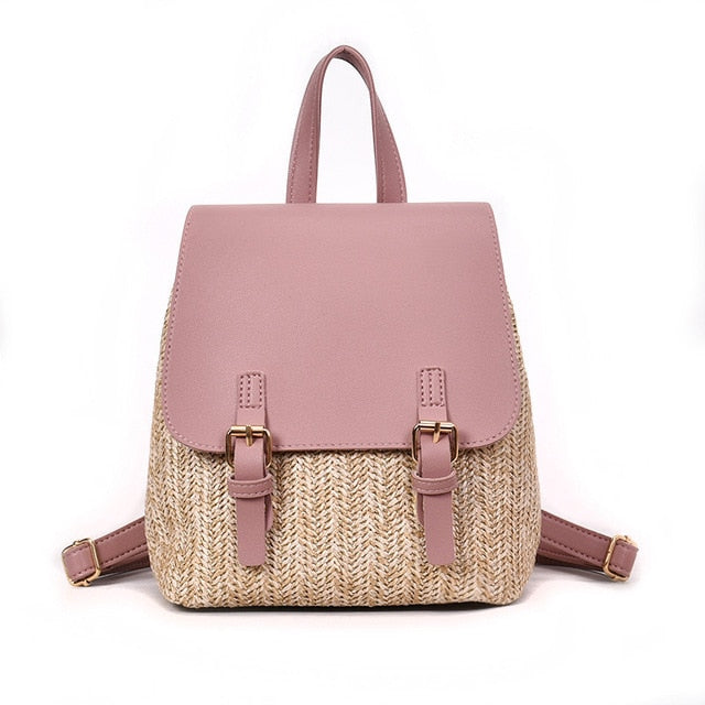 Herald Fashion Straw Woven Backpack Women Back Pack Summer Teenage Girl Quality Backpacks Travel Bags Books Rucksack Drop Ship