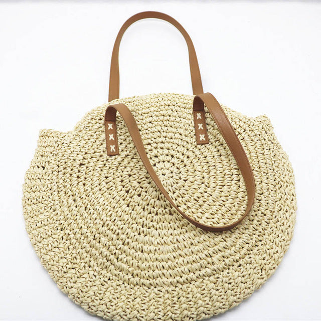 REREKAXI Hand-woven Round Woman's Shoulder Bag Handbag Bohemian Summer Straw Beach Bag Travel Shopping Female Tote Wicker Bags