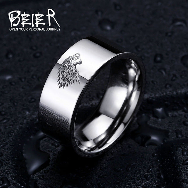 Stainless Steel ring Game of Thrones ice wolf House Stark of Winterfell men ring Laser engraved Viking Wolf Ring LUO001