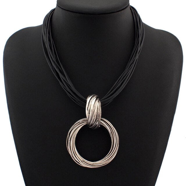 UKMOC Vintage Statement Jewelry Alloy Circle Pendant Necklace For Women Black Leather Chain Necklaces Fashion Accessories