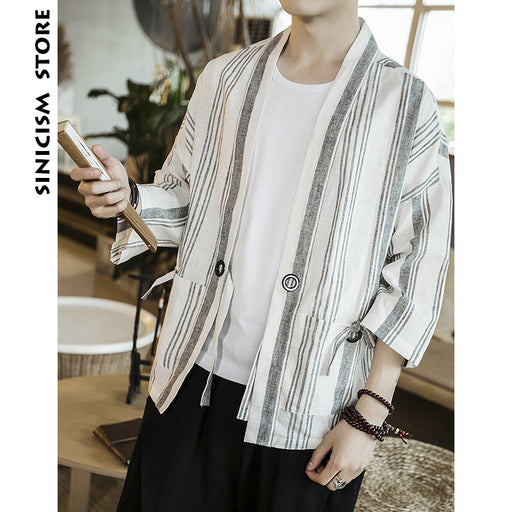 Sinicism Store Mens Cotton Linen Shirts Man Summer Striped Kimono Shirts Male Three Quarter Sleeve Open Stitch Casual Shirt 2019