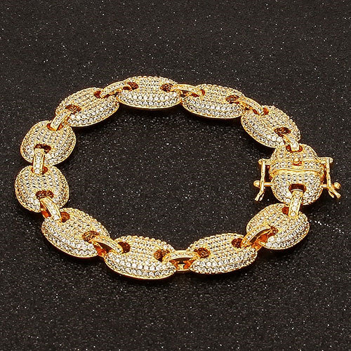 UWIN Coffee beans Bracelet Puffed Marine Chain 13mm Hip hop Gold Silver Link Fashion Punk Choker Charms Jewelry 7inch 8inch