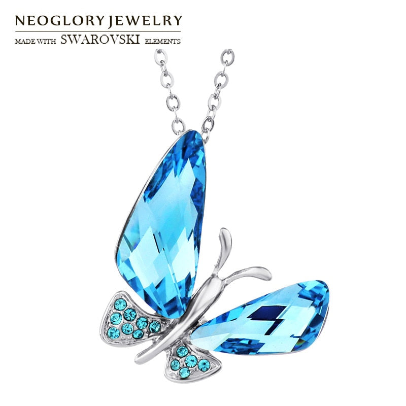 Neoglory Austria Crystal & Auden Rhinestone Elegant Butterfly Style Long Pendant Charm Necklace Summer Classic Trendy Lady Girl