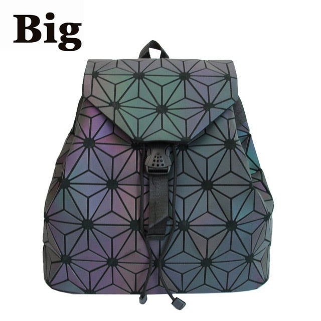 Bao Women Backpack Luminous Drawstring Female Daily Backpack Geometry Backpacks Folding School Bags For Teenage Girls Mochila