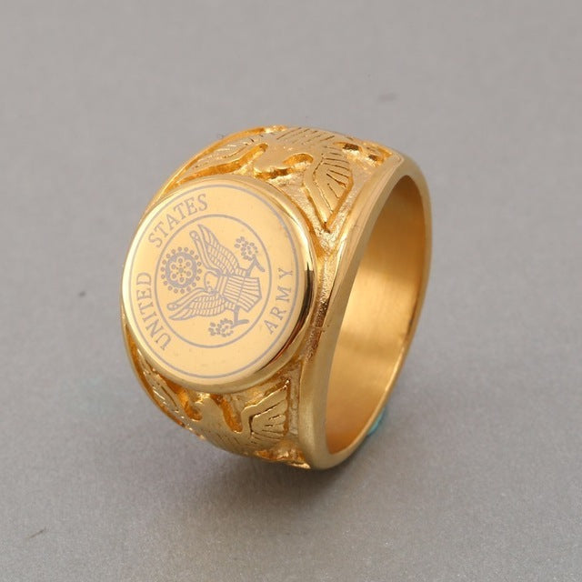 RIR Gold USA Military Ring Badge Eagle United States MARINE CORPS US ARMY Men Rings United States In Stainless Steel