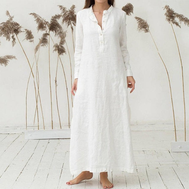 KANCOOLD dress Women's Kaftan Cotton Long Sleeve Plain Casaul Dress Oversized Maxi Long Shirt dress women 2018jul20