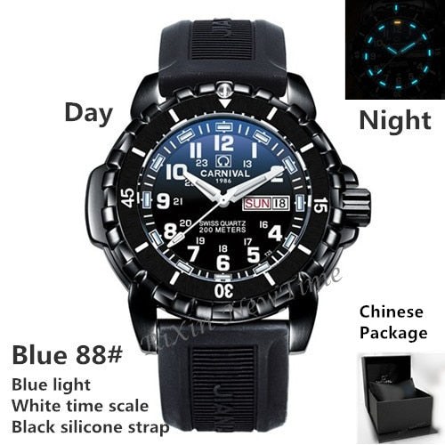 Waterproof 200M T25 tritium luminous watch men military diving sport quartz men watches top bland luxury switzerland Ronda clock