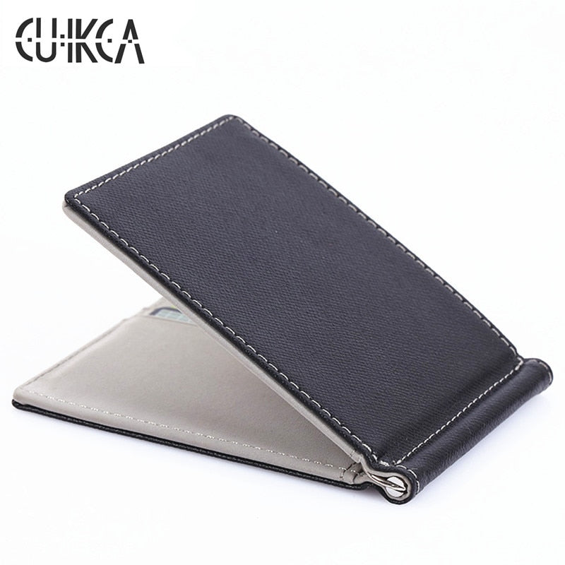 CUIKCA South Korea Style Money Clips Fashion Men Wallet Purse Ultrathin Slim Wallet Mini Leather Wallet ID Credit Card Cases