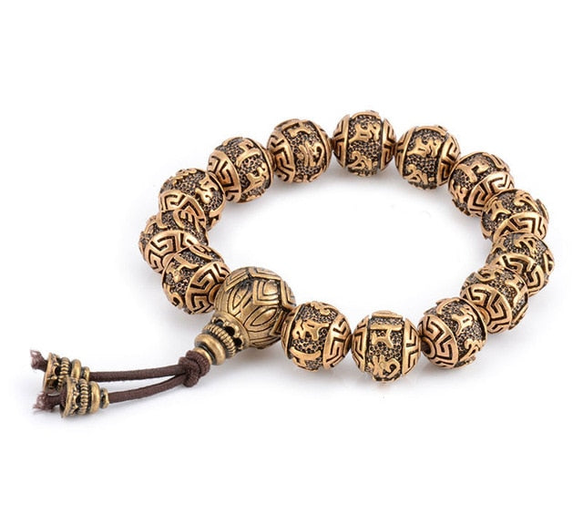 Charm Bead Metal Bracelet Men Copper Carved OM Prayer Tibetan Buddhism Mala Meditation Yoga Bracelet For Women Healing Jewelry