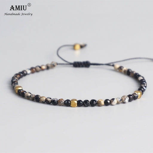 AMIU 3mm Natural Stone Beads Tibetan Stone Beads Stretch Bracelet For Men Women Yoga Chakra Crystal Bead Bracelets