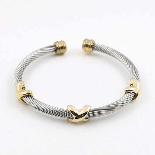MSX Classical Charms Stainless Steel Cuff Bangle Bracelet Starfish Punk Cable Twist  Wire Stripe Wedding Party Jewelry Accesory