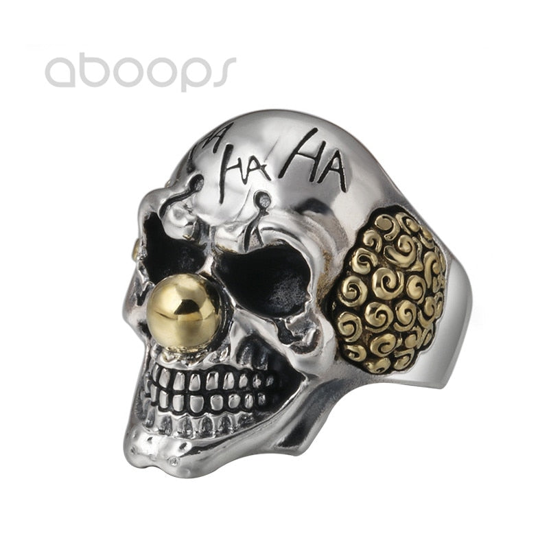 Gothic 925 Sterling Silver Clown Skull Open Ring for Men Boys Adjustable Size 8.5-10.5 Free Shipping
