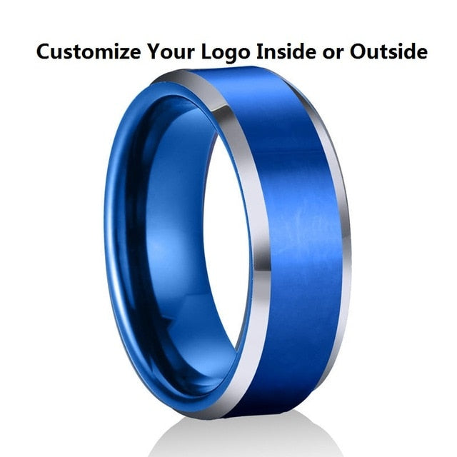 Custom Name Wedding Anniversary Date Logos 8mm Black/ Silver/Black Rose Gold Tungsten Rings Personalize Jewelry for Men Women