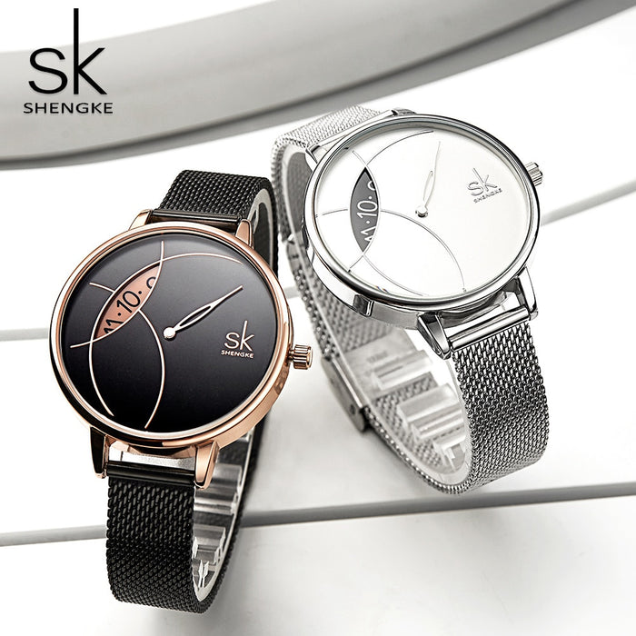 Shengke Women Fashion Watch Creative Lady Casual Watches Stainless Steel Mesh Band Stylish Desgin Silver Quartz Watch for Female