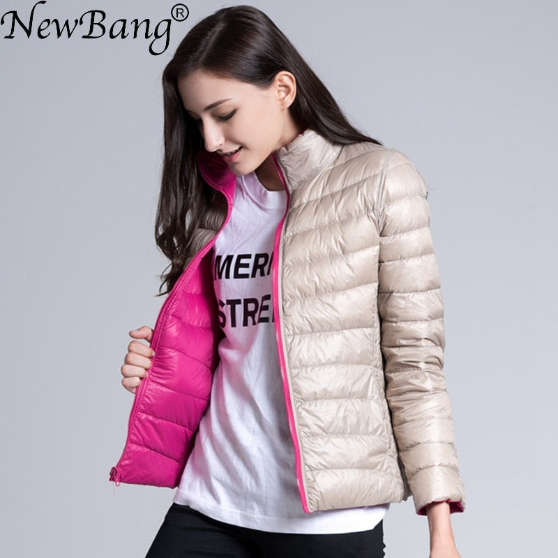 NewBang Brand Down Jacket Women Ultra Light Down Jacket Women Feather Double Side Windbreaker Reversible Lightweight Coat Parks